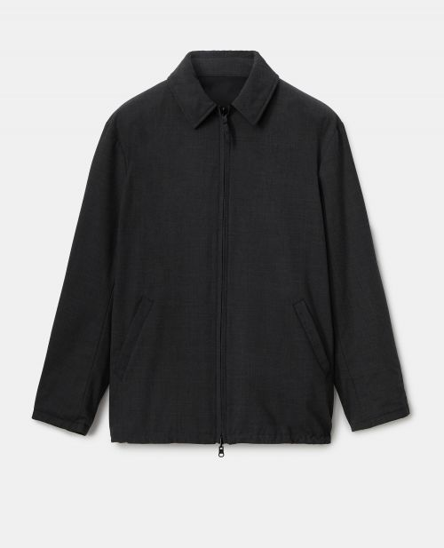 REVERSIBLE TECHNICAL POLYESTER-WOOL CAR COAT