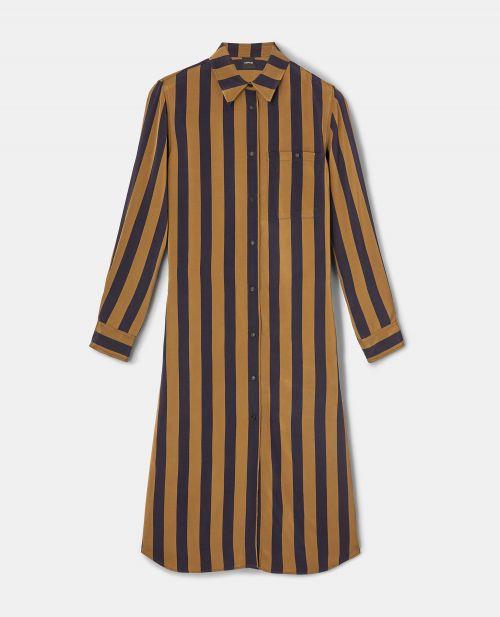 LONG VINTAGE CRINKLE-EFFECT SHIRT-DRESS