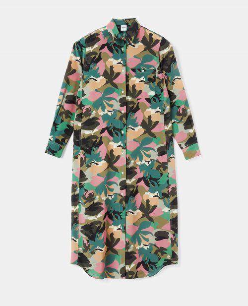 LONG SILK CREPE-DE-CHINE SHIRT-DRESS