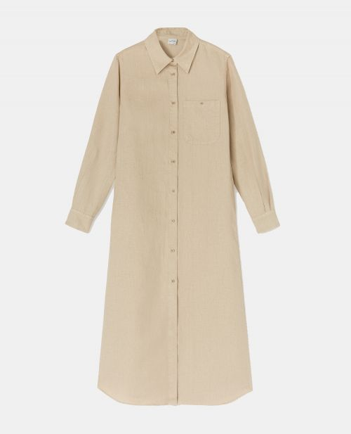 SLUB LINEN GABARDINE SHIRT-DRESS