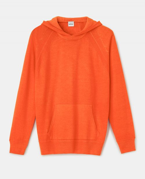 PURE VIRGIN WOOL KNIT HOODED SWEATSHIRT