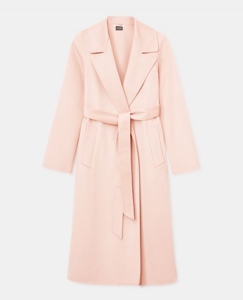 SINGLE-BREASTED DOUBLE-KNIT WOOL-CASHMERE-SILK COAT