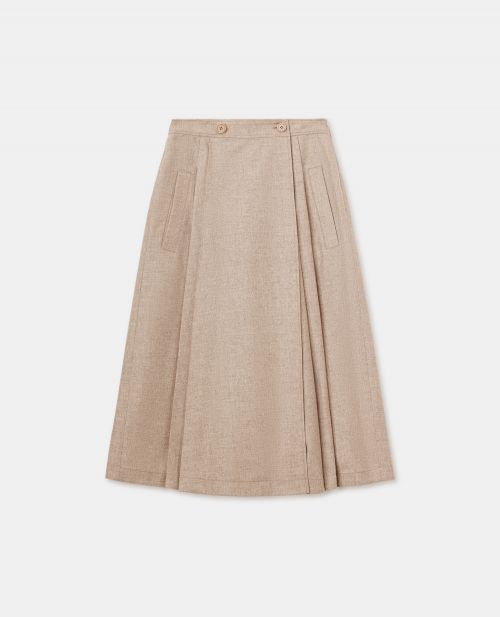 WOOL-CASHMERE FLANNEL SKIRT-PANTS