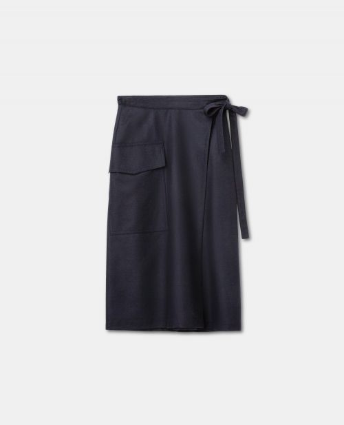 WOOL-CASHMERE FLANNEL SARONG SKIRT