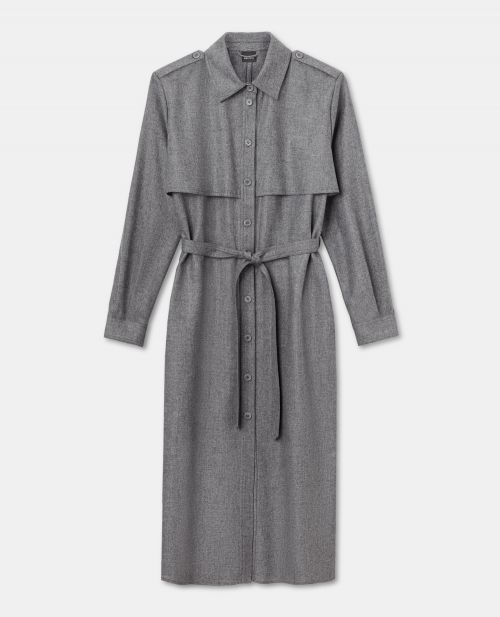 WOOL-CASHMERE FLANNEL TRENCH-DRESS