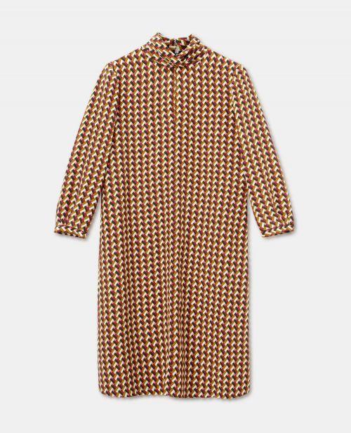 PRINTED SILK CREPE-DE-CHINE DRESS