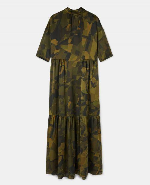 PRINTED SILK SATIN DRESS