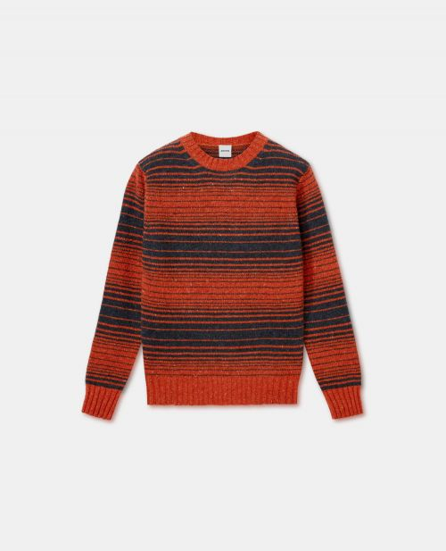 DONEGAL TWEED WOOL CREW NECK SWEATER