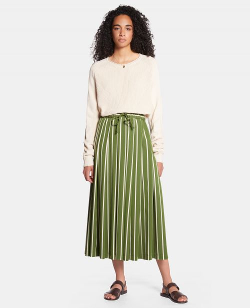 LONG STRIPED VISCOSE SKIRT