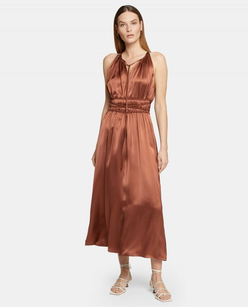 LONG VISCOSE SATIN DRESS