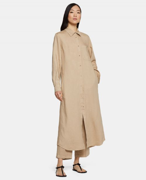 SLUB LINEN GABARDINE SHIRT-DRESS
