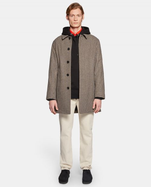 SINGLE-BREASTED MICRO-CHECK WOOL COAT