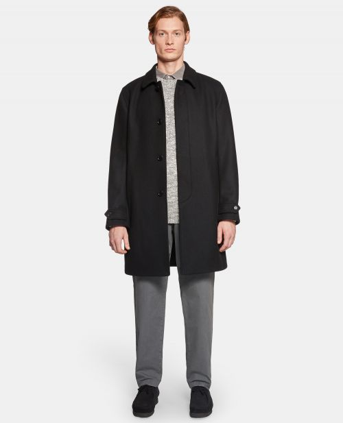 SINGLE-BREASTED DOUBLE-KNIT WOOL CLOTH COAT