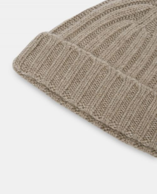 RIBBED NATURAL CASHMERE BEANIE