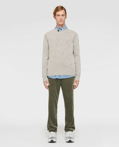 DONEGAL TWEED WOOL POLO SWEATER