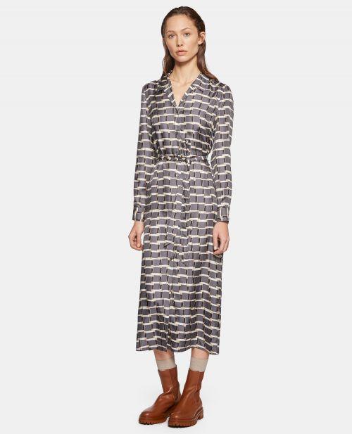 SILK TWILL SHIRT-DRESS