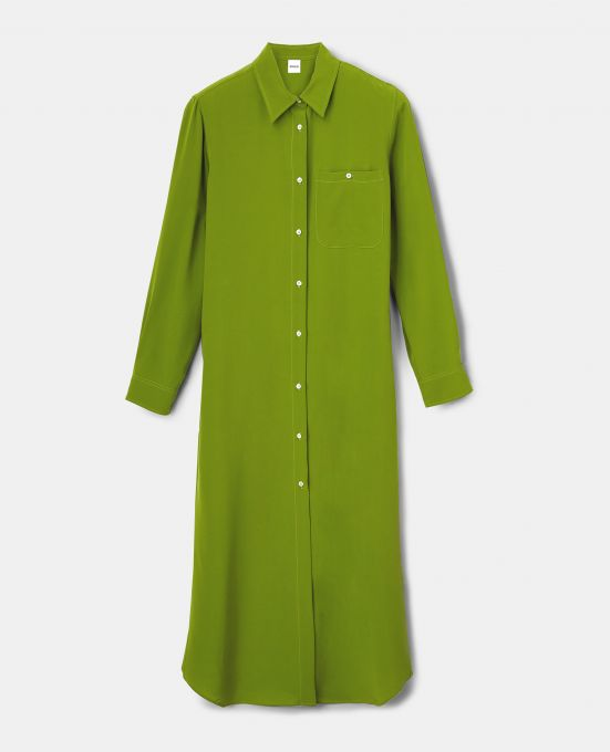 SILK CREPE-DE-CHINE SHIRT-DRESS