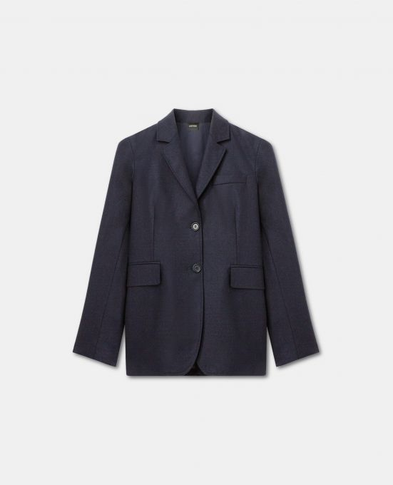 SINGLE-BREASTED WOOL-CASHMERE FLANNEL JACKET